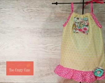 Yellow and Pink Polka Dot Dress, Pillow Case Dress, 18M - 2T Toddler Girl Dress