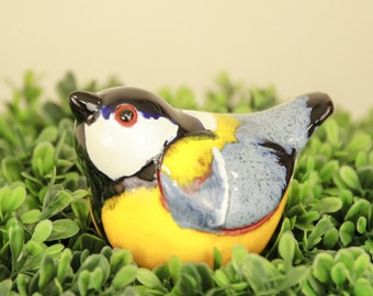 Ceramic decoration statue for garden and home 'Titmouse bird' H14cm. colorful © Midene (GK607-2)