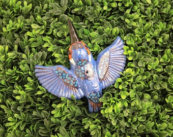 Ceramic decoration statue for garden and home 'Kingfisher bird' H14cm. colorful © Midene (GK604-1)
