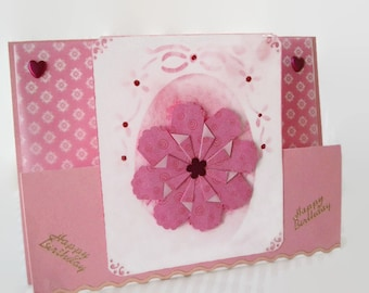 Handmade Pink Flower Birthday Card, Pink Floral Stepper Card, Teabag Folded Flower, Birthday Card, Blank Cards, Pink Flower, Note Cards
