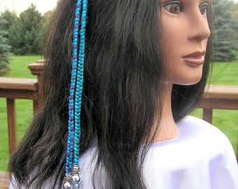 Braided Headband with Feathers - Turquoise and Purple (HBnd-1) Free Shipping