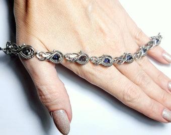 Silver bracelet with superb iolite, handmade wire wrapped bracelet, unique bracelet, adjustable, gift for her, gift idea