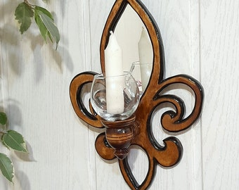 Pair of Wooden Wall Sconces, wall wooden candlestick, Wood Mirror & Clear Glass, Wall Candle Holders, Wall Decor, Family Gift, Wedding Gift