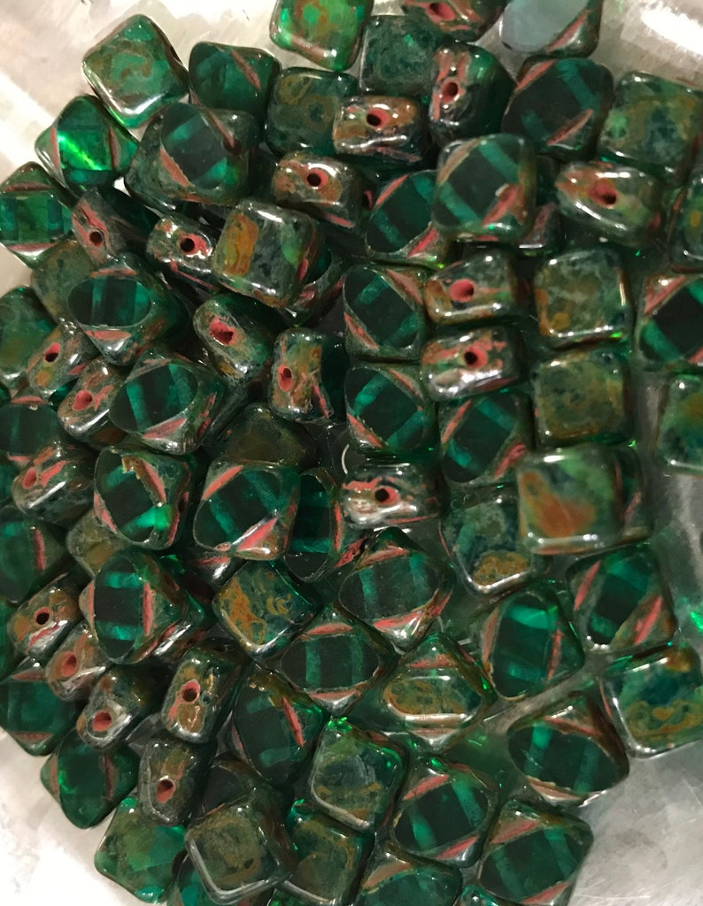 Emerald Travertine Silky Diagonal Beads 6 mm 30