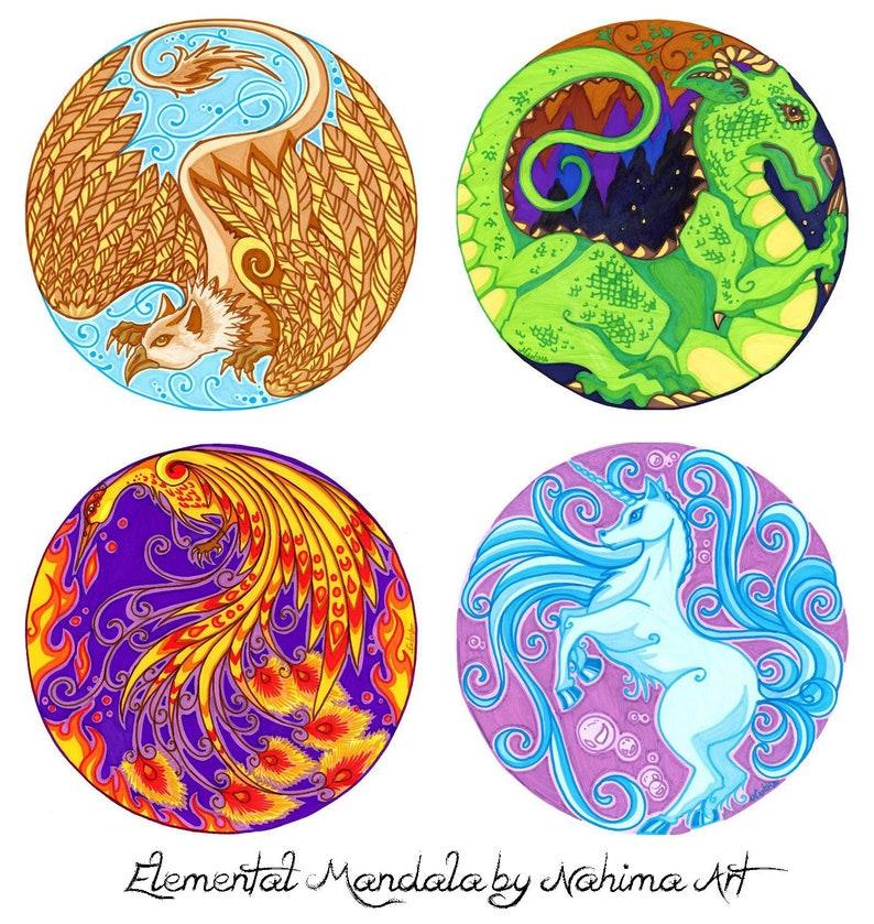 Mandala Set Mandala Degli Elementi Drago Grifone Fenice Etsy