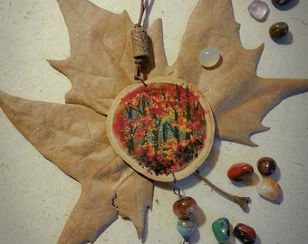 Natural wood pendant-hand painted-forest in autumn