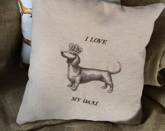 Handmade embroidered cushion I love my daxi