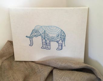 Embroidered Elephant Canvas