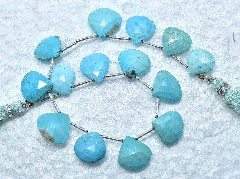 P131 Arizona Turquoise Faceted Heart Shape Briolette Beads...12-14 mm...8 Strand...Weight 85Cts..