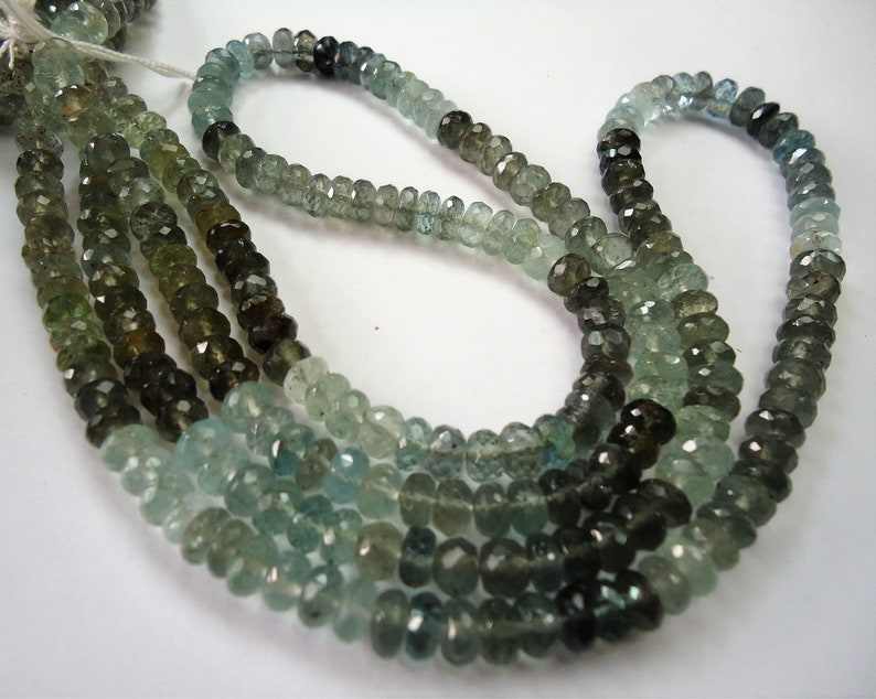 . Moss Aquamarine Faceted Roundelle Beads Size 6 mm String Length 16/'/' Inch Total String 1 ...