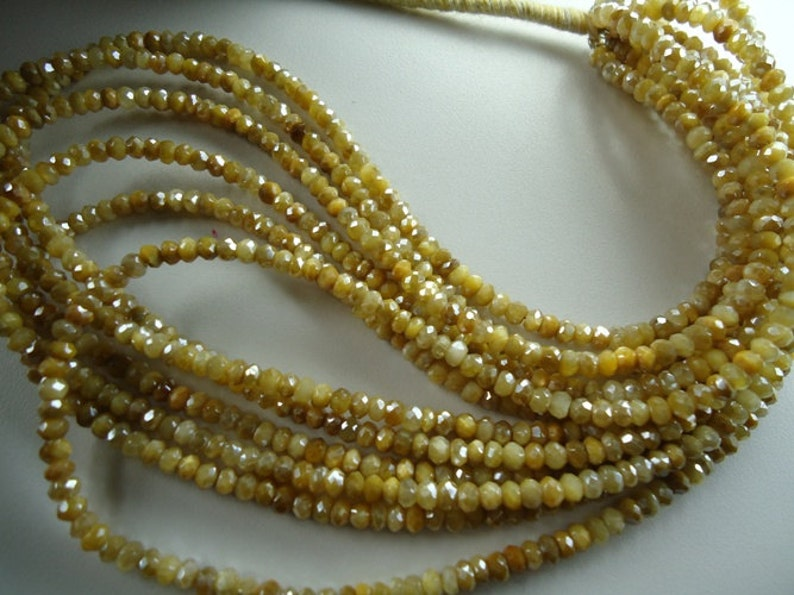 Golden Color Moon stone Faceted Couted Roundels Beads Size 4 mm Strand Lenth Is 16/'/' Inch 1  Strand.P52