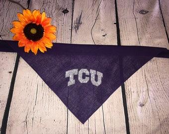 Custom TCU College purple or grey Scarf/ Bandana for pets or people