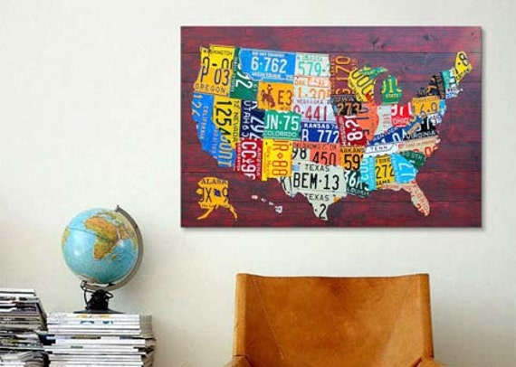 License Plate Map USA Canvas Print | Gallery Framed | 30% off SALE at  Checkout Use Coupon Code: NOVEMBER30B