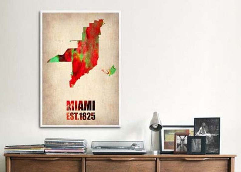 MARCH30B 30/% off SALE at Checkout Use Coupon Code Gallery Framed Miami Watercolor Map Canvas Print