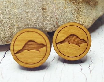 Wooden Beaver Stud Earrings ~ Biology Student Gift, 5th Anniversary Gifts Under 20, Nature Earrings, College Student Gift ~ Minimal Earrings
