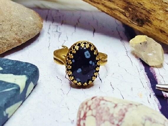 Obsidian Engagement Ring Birthday Gift For Her Handmade