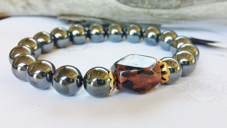 nouveau produit 683db 30f5e Hematite Beaded Bracelet Bijoux Homme Minimalist Mens Jewelry Boho Yoga  Chakra Custom Handmade Magnetic Gunmetal Hematite Boyfriend Gift