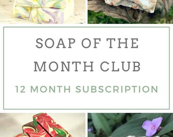 Soap Subscription Box - Monthly Subscription Box - Cold Process Soap - Natural Soap - Artisan Soap - Homemade Soap - Gift for Her - 12 Month