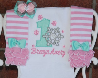 and hair bow pink stripe leg warmers Winter ONEderland--Baby Girl First Birthday Outfit in mint Snowflake applique top pink and gold