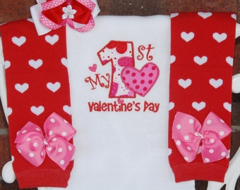 4 Pc My 1st Valentine S Day Outfit Girls Hearts Dots