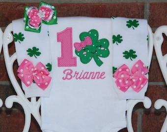 Girls St. Patrick's Day Birthday Outfit! Pink and green shamrock birthday outfit for girls with applique bodysuit, leg warmers, and bow!