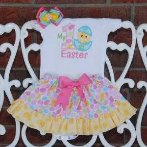 4 pc Personalized Easter bodysuit or shirt with deluxe ruffle skirt Girls Easter Outfit chevron leg warmers and hair bow!