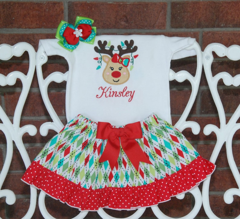 5a9051fc3 Baby Girl Christmas Outfit Personalized reindeer Christmas | Etsy