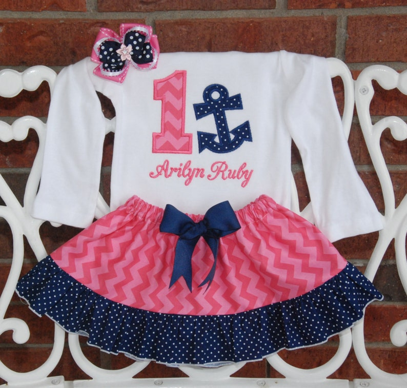ab0ab0ad1 4 pc. Girls Nautical Birthday Outfit Baby Girl Anchor First | Etsy