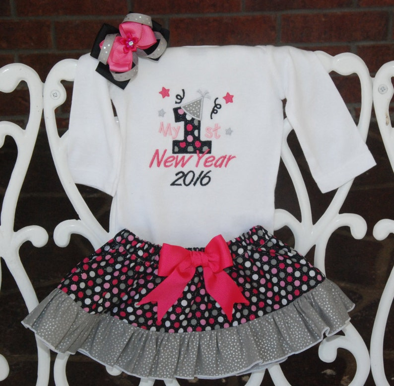 Baby Girl New Years Outfit My 1st New Years outfit for baby girls Baby Girl First New Year OutfitPink black and silver new years 4 pc