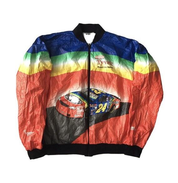 Vtg. 90s Tyvek Racing DuPont Rainbow Windbreaker J