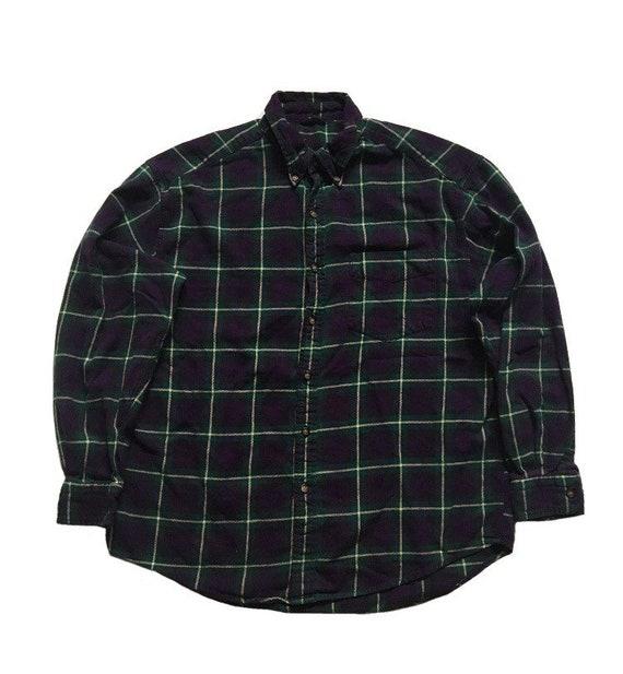 Vtg. 90s Plaid Flannel Shirt Purple Green