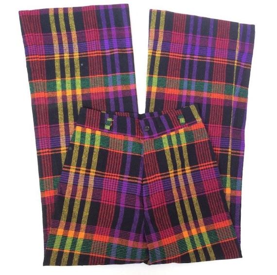 70s Colorful Plaid Wide Leg Flare Vintage Pants