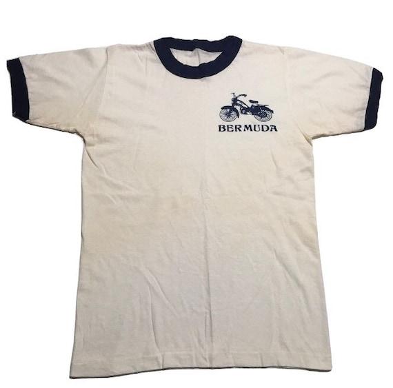 Vtg. 70s Bermuda Motorcycle Ringer T-Shirt