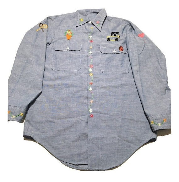 Vtg. 70s Embroidered Chambray Button Shirt Blouse