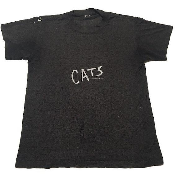 Vtg. 80s CATS Broadway Musical Threadbare T-Shirt