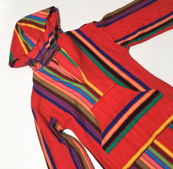 Vtg. 60s Rainbow Striped Hooded Robe Maxi Dress