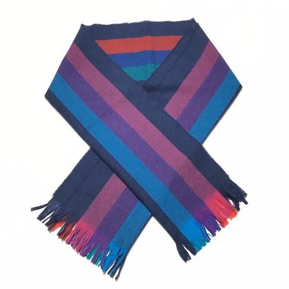 Vtg. 80s Pendleton Coloful Striped Wool Scarf