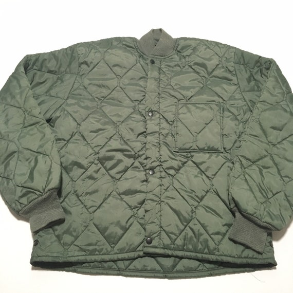 Vtg. 80s Quilted Army Jacket Liner
