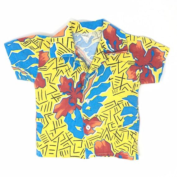 Vtg. 80s Hawaiian Button Up Shirt for Kids 2T