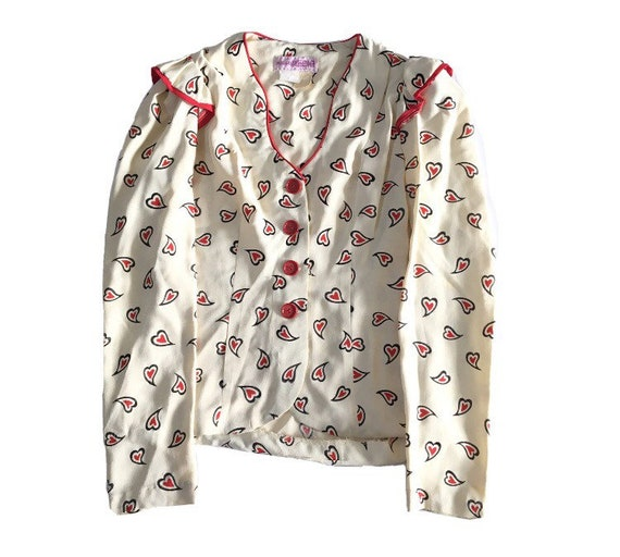 Vintage 70s Hearts All Over Print Dress Suit High… - image 3