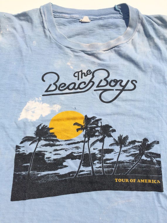 70s BEACH BOYS TOUR T-Shirt / Baby blue / Distress