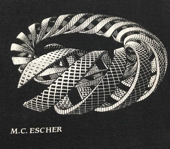 Vtg. 90s MC Escher Surreal Art Graphic T-Shirt