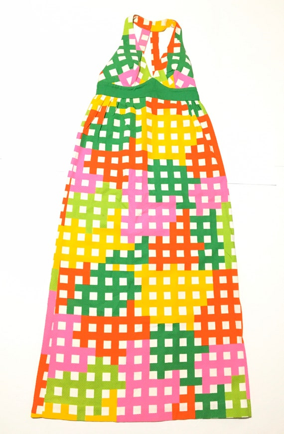 Vtg. 70s Malia Honolulu Rainbow Checkered Hawaiia… - image 1