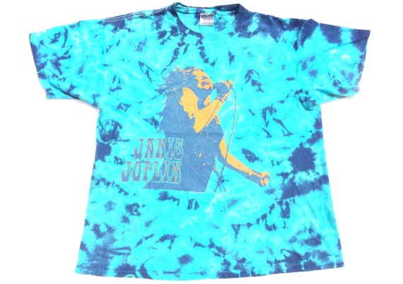 Vtg. Janis Joplin Psychedelic Rock 90s Tie Dyed Vi
