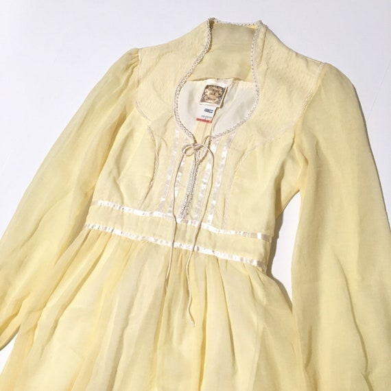 Vtg. 70s Gunne Sax Jessica McClintock Dress Yellow