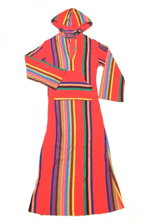 Vtg. 60s Rainbow Striped Hooded Robe Maxi Dress