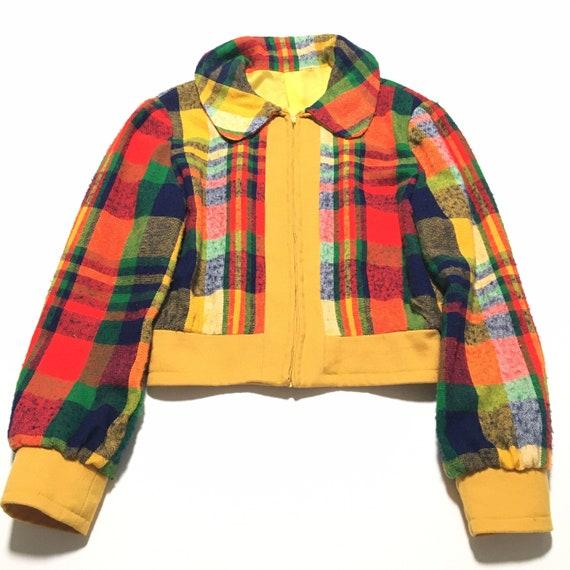 Vtg. 70s Rainbow Plaid Crop Jacket
