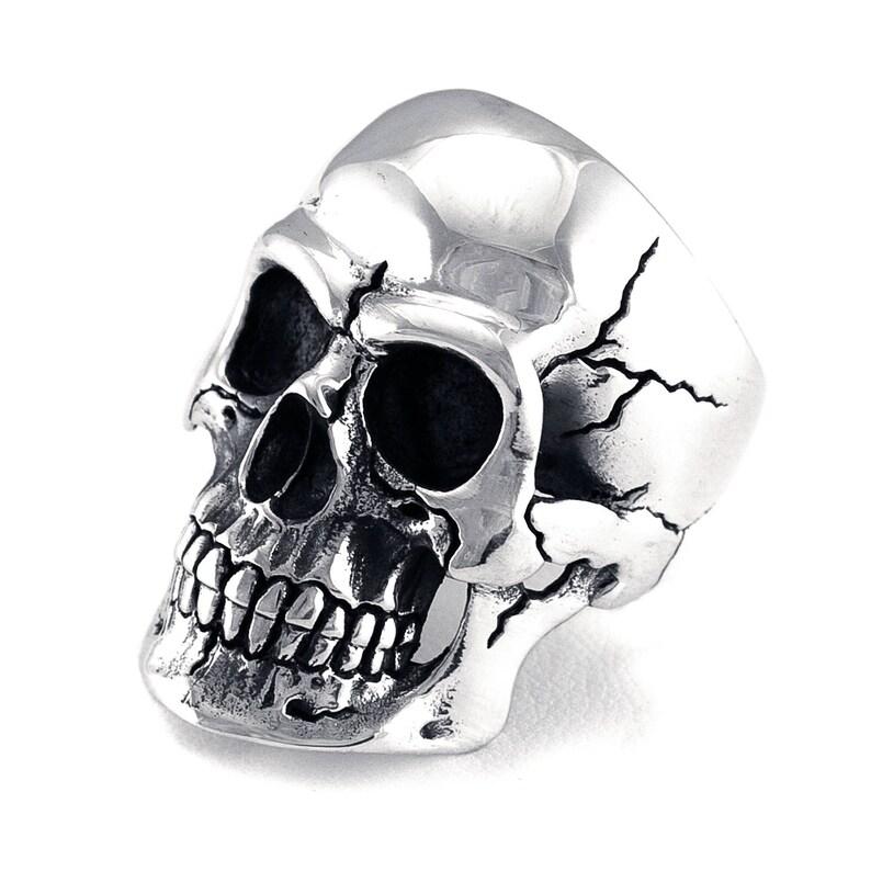Mens Skull Ring Sterling Silver 925 Realistic Skull image 0