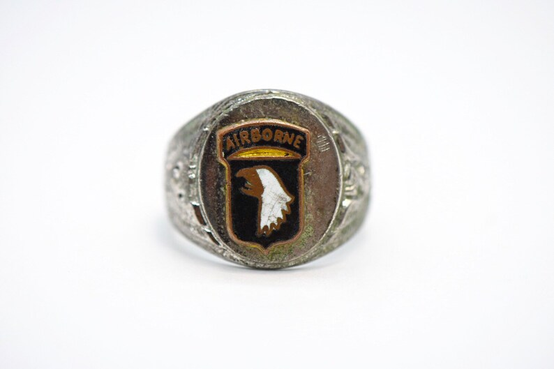 8 12 Vintage 925 Sterling Silver Army Airborne Ring Sz