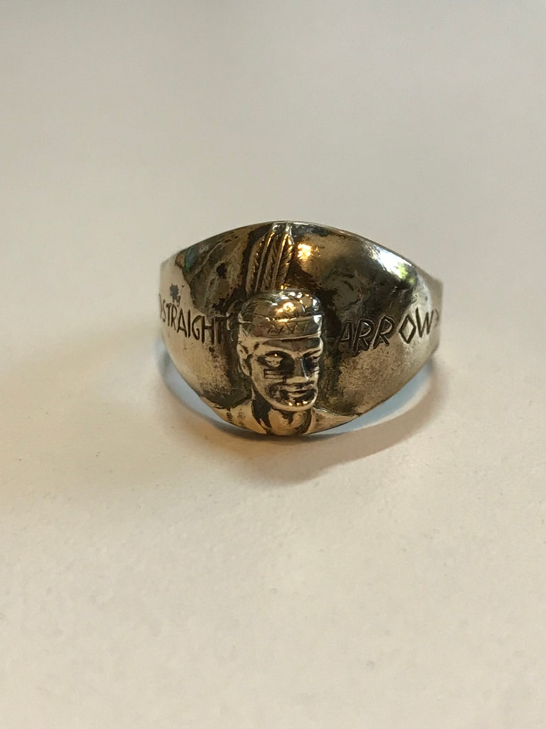 Adjustable Antique 1950/'s Straight Arrow Solid Indian Bronze Ring.